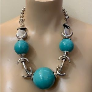 Designer Silver Turquoise Bead Statement Necklace